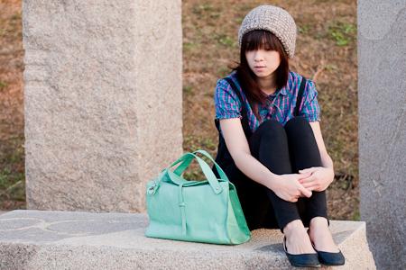 lime green thrfited bag 二手古董包