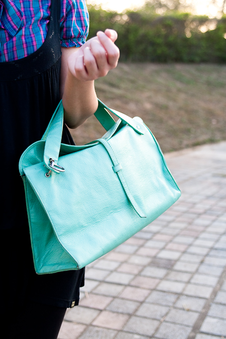 lime green thrifted vintage bag