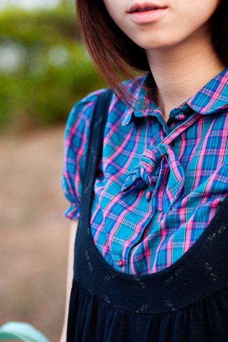 H&M 短袖格子襯衫