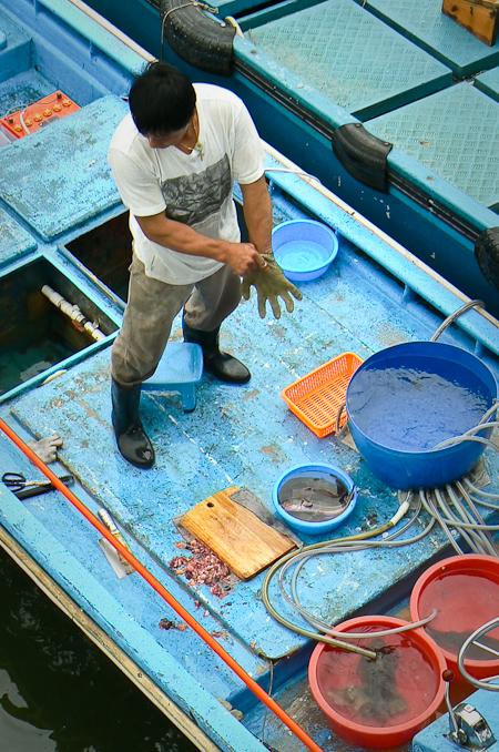 西貢碼頭的浮動海鮮賣家